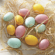 12 pc  easter egg ornaments set with raffia
