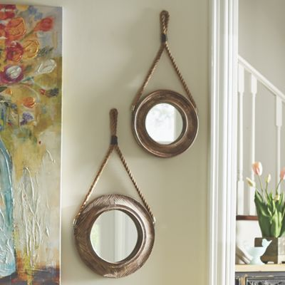 Set of 2 Wooden Wall Mirrors
