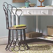 brown scroll metal chair