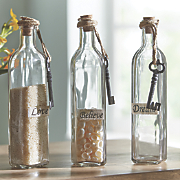 Set of 3 Glass Bottles
