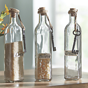 set of 3 glass bottles 124