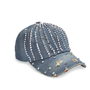 sparkling denim baseball hat