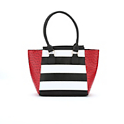 stripe and ostrich print satchel