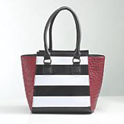 stripe and ostrich print satchel