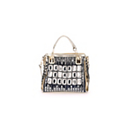 rhinestone and denim satchel