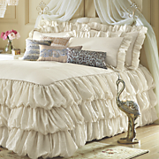 vienna skirted coverlet  sham and window treatments