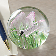 butterfly glow glass paperweight
