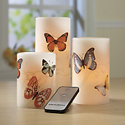 3-Piece Butterfly LED Candle Set