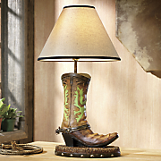 western boot table lamp