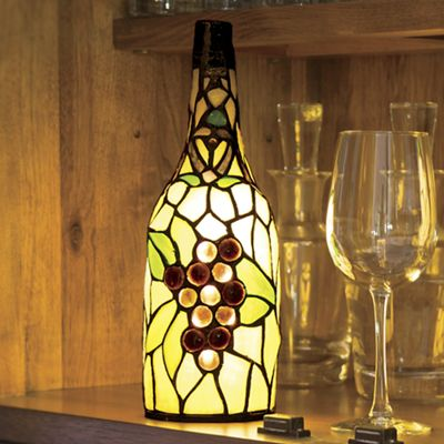 Stained Glass Wine Bottle Table Lamp