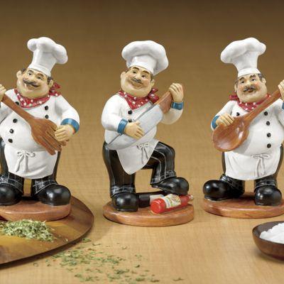 3-Piece Utensil Chef Figurines