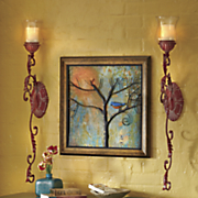 set of 2 red metal wall sconces