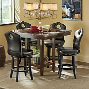 Faux Marble Counter Table and Nailhead Swivel Stool