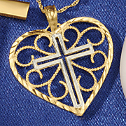 10k gold two tone cross heart pendant