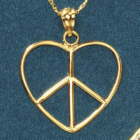 14K Gold Heart/Peace Pendant