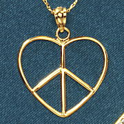 14k gold heart peace pendant