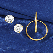 14k gold hoop and 10k gold cubic zirconia post earring set