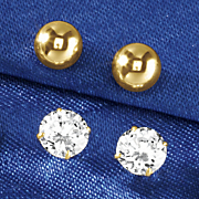 10k gold ball and cubic zirconia post earring set