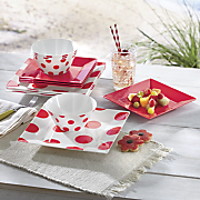 12 pc  melamine red and dotted dinnerware set