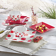 12-Piece Melamine Red and Dotted Dinnerware Set