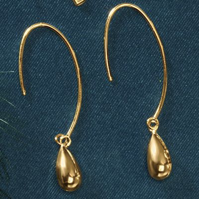 14K Gold Teardrop Wire Earrings
