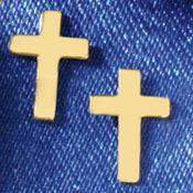 14K Gold Cross Post Earrings
