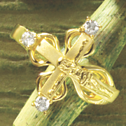 cubic zirconia crucifix ring