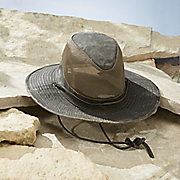 hat with weathered brim and mesh crown