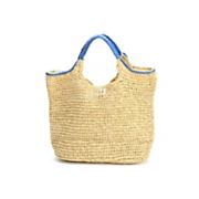hand crocheted paper straw handbag