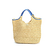 hand crocheted paper straw handbag