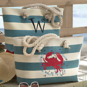 personalized striped crab bag