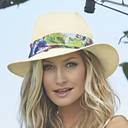 floral band panama hat