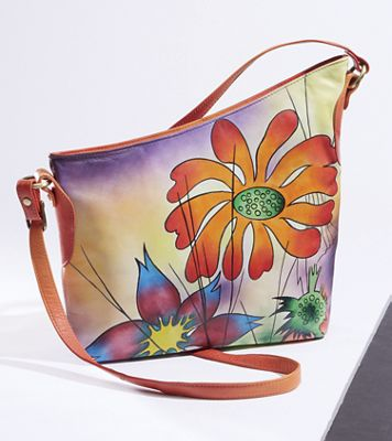 Diagonal Hand-Painted Leather Bag
