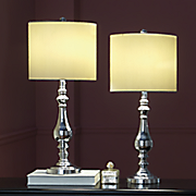 set of 2 silver table touch lamps