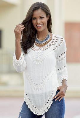 3/4-Length Sleeve Crochet Top