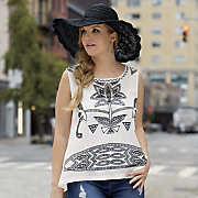 Cut Out Embroidered Top