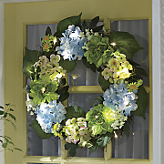 lighted hydrangea wreath