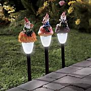 3 pc  garden gnome solar stakes set