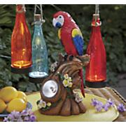 solar parrot statue
