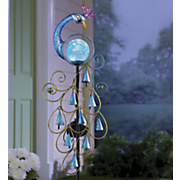 solar peacock stake with chimes