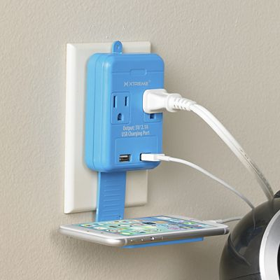 2-Outlet Wall Tap with Dual-Port USB