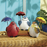 3 pc  chubby birds with umbrellas