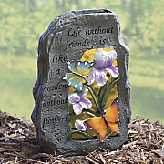 solar lighted butterfly rock