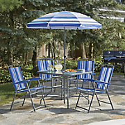 6 pc  folding patio set with umbrella
