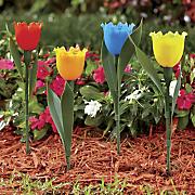 set of 4 solar tulip stakes