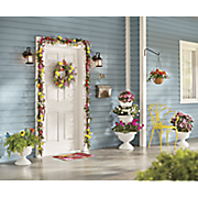 Bright Flower Garland, Wreath and Hanging Basket
