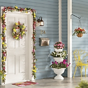 bright flower garland  wreath and hanging basket