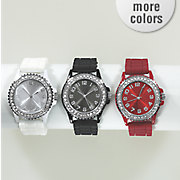 crystal rubber strap watch