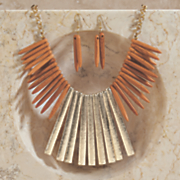 ceramic metal necklace and earring set