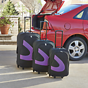 3 pc  viola violet accented luggage set